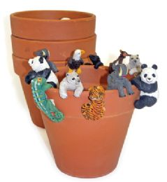 72 Units of LAND AND SEA DECORATIVE POT HANGERS WITH TERRA COTTA POTS SMALL ASSORTED ANIMAL DESIGNS - Garden Planters and Pots