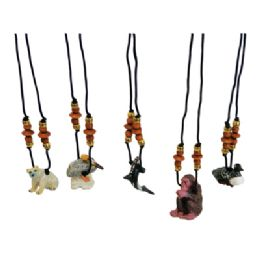 144 Units of LAND AND SEA WOODEN NECKLACE ASSORTED ANIMAL DESIGNS - Necklace