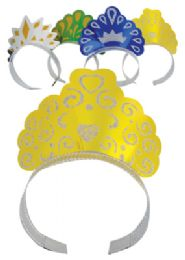 48 Units of Foil Tiaras 4 Pack Party Design Assorted Colors - Party Favors