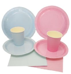 72 Units of Party Solution Party Set Everyday Pink And Blue Includes 18 EacH- 8 Ct 9 Inch Plate/ 8 Ct 7 Inch Plate/8 Ct 9 Oz Cups/ 20 Ct Napkins - Party Paper Goods