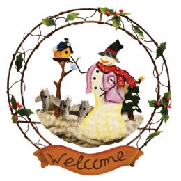 16 Units of CHRISTMAS SNOWMAN WELCOME WREATH 12.5 INCH HAND PAINTED