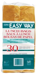 40 Units of Easy Way Brown Lunch Bag 30ct Self Standing Flat Bottom 10 1/2 X 5 1/4 X 3 1/4 - Lunch Bags & Accessories