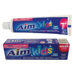 24 Units of Aim Kids Toothpaste 4.4 Oz Gel Mega Bubble Berry - Toothbrushes and Toothpaste