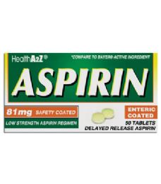 24 Units of ASPIRIN COATED TABLETS 50 CT 81 MG COMPARE TO BAYER - Pain and Allergy Relief