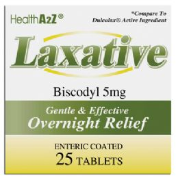 24 Units of LAXATIVE TABLETS 25 COUNT BISCODYL 5 MG COMPARE TO DULCOLAX - Pain and Allergy Relief