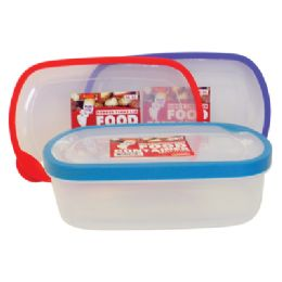 48 Units of Food Container 56 Oz Rectangular With Assorted Colored Rubber Rim Lids - Storage Holders and Organizers