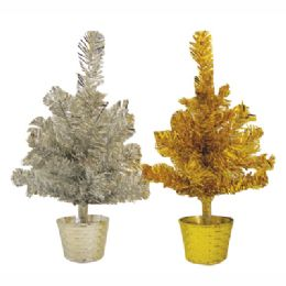 48 Units of Tinsel Christmas Tree 1 Foot Gold/silver - Party Novelties