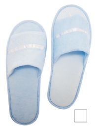 48 Units of MEN'S SLIPPERS ONE SIZE FITS ALL WHITE AND BLUE