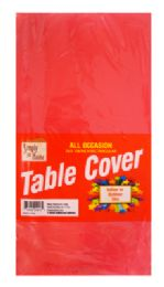 48 Units of Plastic Table Cover 54 X 108 Inch Red - Table Cloth