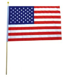 72 Units of USA FLAG 12 X 9 INCH ON WOODEN STICK - Flag