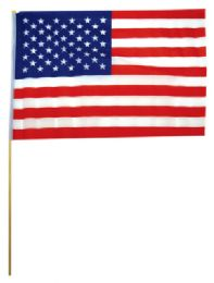 72 Units of USA FLAG 19 X 12 INCH ON WOODEN STICK - Flag