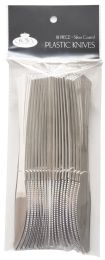 36 Units of CROWN DINNERWARE PLASTIC CUTLERY 18 CT KNIFE SILVER COATED - Kitchen Knives