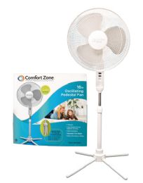 Comfort Zone Pedistal Fan 16 Inch 3 Speed Oscillating Adjustable Height 41-47 Inch Etl Approved - Electric Fans