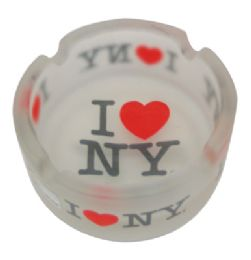 120 Units of Ashtray 3 Inch I Love Ny Frosted Glass - Ashtrays
