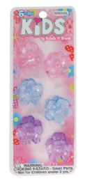 144 Units of GIRLS HAIR CLIPS 6 PC 1 INCH FLOWER DESIGN ASSORTED TRANSPARENT COLORS - Hair Fancy Clips