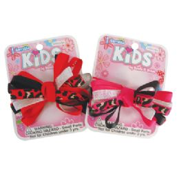 144 Units of GIRLS BARRETTE 3 INCH MULTI-LOOP BOW DESIGN ASSORTED COLORS - Hair Fancy Clips