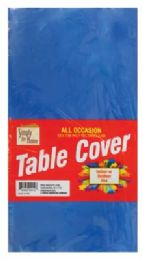 48 Units of Plastic Table Cover 54 X 108 In Royal Blue - Table Cloth