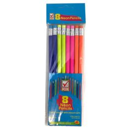 48 Units of Check Plus No. 2 Pencils 8 Count Neon Body - Pencils