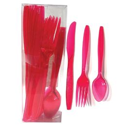 30 Units of Plastic Cutlery Combo 24 Count Heavy Duty Magenta - Disposable Cutlery