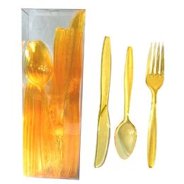 30 Units of PLASTIC CUTLERY COMBO 24 COUNT HEAVY DUTY YELLOW - Disposable Cutlery