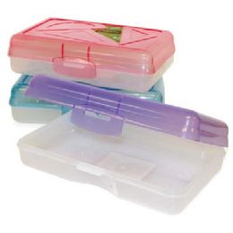 48 Units of PENCIL BOX 8 X 5 X 2.5 IN ASSORTED COLORED LIDS - Pencil Boxes & Pouches