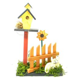 30 Units of DECORATIVE WOODEN BIRD HOUSE ON PICKET FENCE AND GRASS DECO HAND PAINTED ASST. ANIMALS 10 IN TALL - Garden Decor