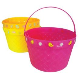 48 Units of Easter Basket 8 X 5.5 In Assorted Colors And Designs - Baskets