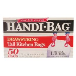 6 Units of Handi Bag Drawstring Tall Kitchen Bag 50 Count 13 Gallon - Garbage & Storage Bags
