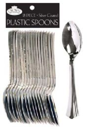 36 Units of CROWN DINNERWARE PLASTIC CUTLERY 18 COUNT SPOON SILVER COATED - Disposable Cutlery