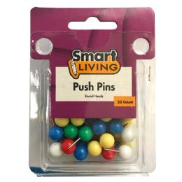 36 Units of Push Pins Round Head 50ct Assorted Colors - Push Pins and Tacks