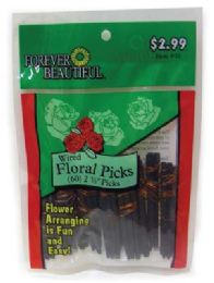 72 Units of Floral Picks 60 Count 2 1/2 In Wired Assorted Prepriced $2.99 - Toothpicks