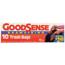 9 Units of Good Sense Trash Bags 10 Count 30 Gallon Drawstring Prepriced $2.49 - Garbage & Storage Bags