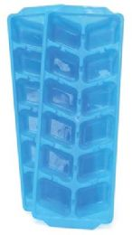48 Units of ICE CUBE TRAY 2 PACK 10 X 3.5 IN WHITE AND BLUE - Freezer Items