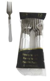 48 Units of SILVER COATED PLASTIC FORK WITH WHITE HANDLE 12 COUNT - Disposable Cutlery
