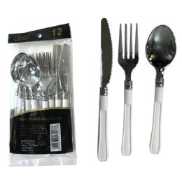 48 Units of SILVER COATED PLASTIC CUTLEY COMBO WITH WHITE HANDLE 12 COUNT - Disposable Cutlery