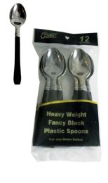 48 Units of SILVER COATED PLASTIC SPOON WITH BLACK HANDLE 12 COUNT - Disposable Cutlery