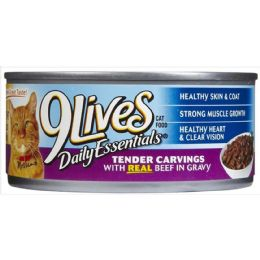 24 Units of 9LIVES CAT FOOD 5.5oz BEEF SLICES - Pet Chew Sticks and Rawhide