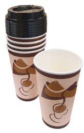 48 Units of Hot Cup With Lid 10 Pk 16 Oz - 5 Cups + 5 Lids - Disposable Cups