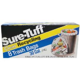 24 Units of SurE-Tuff Trash Bags 30 Gallon 8 Count Flap Tie Clear Recycling - Garbage & Storage Bags