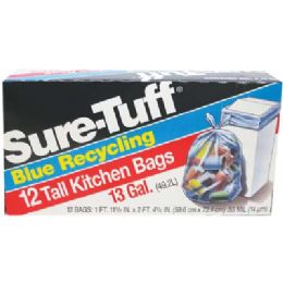 24 Units of SurE-Tuff Tall Kitchen Bags 12 Count 13 Gallon Blue Recycling - Garbage & Storage Bags