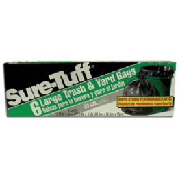 24 Units of Sure Tuff Trash And Yard Bags 6 Count 33 Gallon - Garbage & Storage Bags