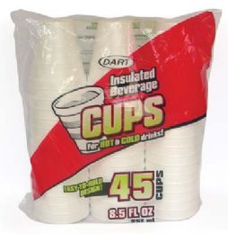 24 Units of Dart Insulated Foam Cups 45 Ct 8.5 oz - Disposable Cups