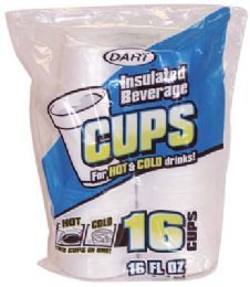 24 Units of Dart Insulated Foam Cups 16 Ct 16 oz - Disposable Cups