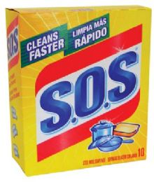 6 Units of S.O.S SOAP PADS 10 COUNT STEEL WOOL - Soap & Body Wash