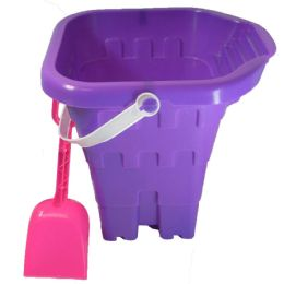 48 Units of Sand Castle Bucket 8 Inch With Shovel And Spout Astd Colors - Summer Toys