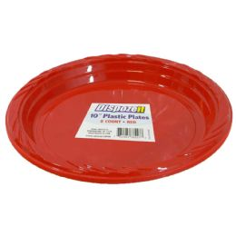 24 Units of Plastic Plate 8 Ct 10 Red - Disposable Plates & Bowls