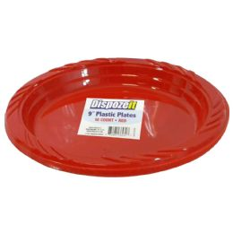 24 Units of Plastic Plate 10 Ct 9 Red - Disposable Plates & Bowls