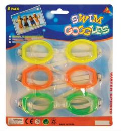 36 Units of SWIM GOOGLES 3PK ASTD ADULTS ONLY - SUMMER TOYS
