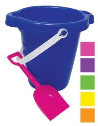 48 Units of BEACH PAIL 7 IN WITH SHOVEL AND SPOUT ASSORTED COLORS - Beach Toys