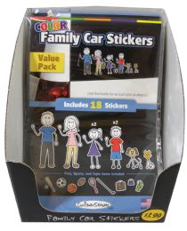 36 Units of Family Car Stickers 18 Packdisplay Box 9 Blkandwht+9 Color - Hardware Products
